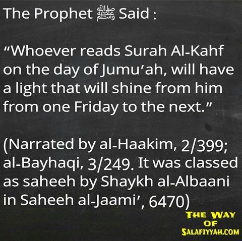 Reward for Reading Surah Al- Kahf | The way of salafiyyah com